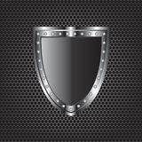 Metal textures and shield illustration Royalty Free Stock Image