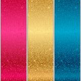 Metal textures. Vector 3 colorful metal textures Stock Image