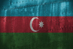 Metal texutre or bacground with Azerbaijan flag Stock Photography