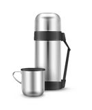 Metal thermos flask Stock Image
