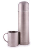Metal thermos and thermocup Clipping path Royalty Free Stock Photo