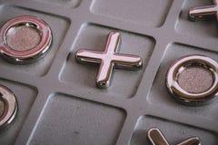 Metal tic tac toe board Vintage Retro Filter. Stock Image