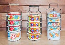 Metal Tiffin, envases de comida Imagen de archivo libre de regalías