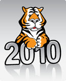 Metal Tiger 2010. Vector cartoon illustration of the Year of the Metal Tiger 2010 Royalty Free Stock Image
