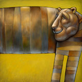 Metal tiger. The illustration of a bronze metal tiger Royalty Free Stock Image