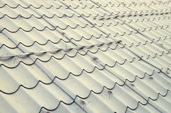 The metal tile of gray roof Royalty Free Stock Photo