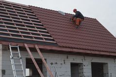 Metal tile roof Royalty Free Stock Image