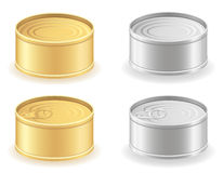 Metal tin can set icons vector illustration Royalty Free Stock Image