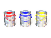 Metal tin cans with basic colors (red, blue and green) paint Stock Photo
