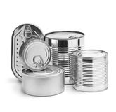 Metal tin cans Stock Images