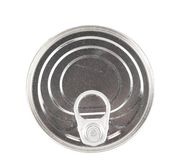 Metal tin conserve can, top view. Royalty Free Stock Images