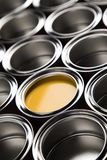 Metal tin paint cans. Tin metal cans, Painting background royalty free stock photography