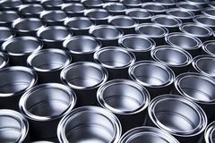 Metal tin paint cans. Tin metal cans, Painting background stock photography