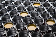 Metal tin paint cans. Tin metal cans, Painting background royalty free stock photo