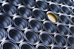 Metal tin paint cans. Tin metal cans, Painting background stock photo