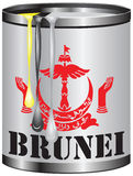 Metal tin with paint color flag of Brunei Stock Images