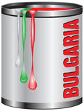 Metal tin with paint color flag of BULGARIA Stock Images