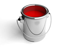 Metal tin with red paint. 3d royalty free illustration