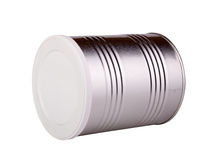 Metal tin with a white lid Stock Image