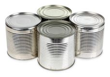 Metal tins of food Stock Photo