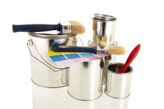 Paint tins and brushes Royalty Free Stock Image