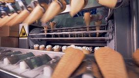 Metal tongs are relocating ice-cream cones to an ongoing conveyor belt. 4K stock video footage
