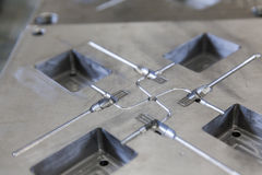 Metal tool for molding. Rubber products Royalty Free Stock Photo