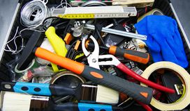 Metal toolbox with tools, close up stock photo