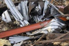 Metal torcido no canteiro de obras Fotos de Stock Royalty Free