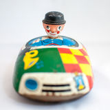 Metal Toy with clown. Metal car Toy with clown with white background Stock Images