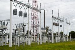 Metal transmission line with the components of the electric network, the system of power equipment for the transmission stock photo