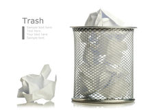 Metal trash bin from crumpled pape Stock Images