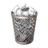 Metal trash bin, full of crumpled paper 3D Royalty Free Stock Images