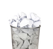Metal trash bin for paper Stock Image