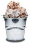 Metal trash bin with trash on a isolated white background Stock Photography