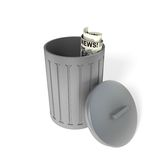 Metal trash can. Metal trash bin or can with an newspaper Stock Photo