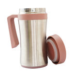 Metal  travel aluminum cup with brown lid Stock Image
