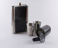 Metal Travel Shot Glasses and Case Hip Flask Royalty Free Stock Photos