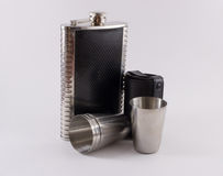 Metal Travel Shot Glasses and Case Hip Flask Stock Images