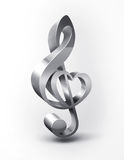 Metal treble clef. With the shape of the heart Stock Images