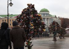 Metal Trees of Love with locks. Moscow. Russia. Royalty Free Stock Photo