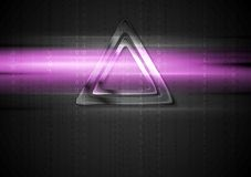 Metal triangle and purple shiny light design Stock Photography