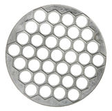 Metal trivet for hot tableware isolated on white background. Round old cast iron trivet isolated on white Royalty Free Stock Photography