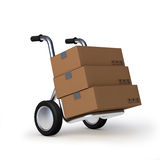 Metal trolley. Cardboard box with an inscription on the metal trolley vector illustration