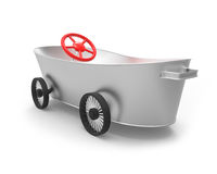 Metal tub the car. Metal tub on wheels in the style of car Royalty Free Illustration