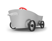 Metal tub the car. Metal tub on wheels in the style of car Vector Illustration