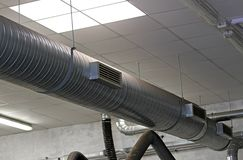 Metal tube for the air-conditioning of a industrial complex Royalty Free Stock Images