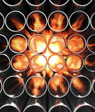 Metal tube in fire Stock Photography