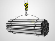 The metal tubes. 3d generated picture of metal tubes on a crane hook Stock Photos