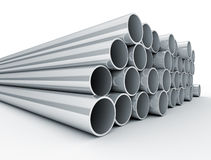 Metal tubes. Industrial metal tubes stacked. White background Royalty Free Stock Images